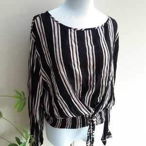 3/$24 Black Striped Rayon Blouse